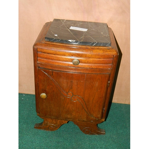 281 - French Marble topped bedside cabinet...