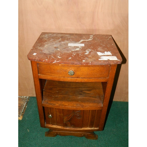 282 - French Marble topped bedside cabinet...