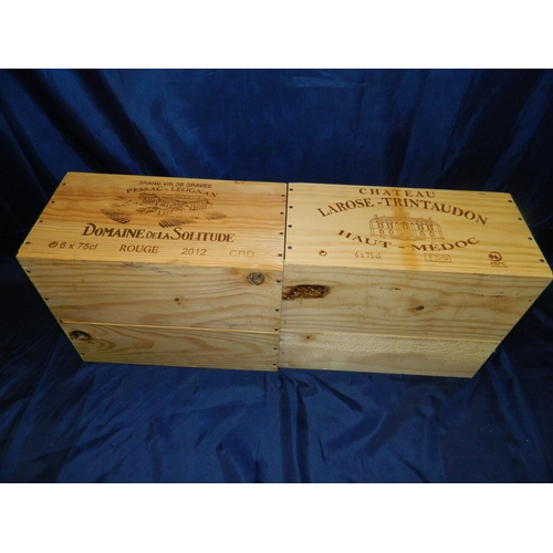 287 - 2 Wooden wine boxes - 'Larose-Trintaudon' and 'Pessac - Leognan'...