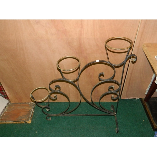 290 - French wrought iron 3 pot plant holder [H:85xW:75]cm...