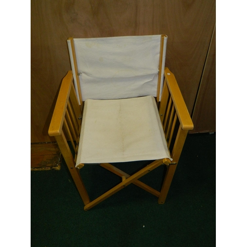 291 - Folding directors chair with white fabric...
