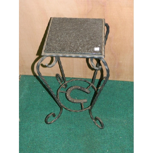 292 - French wrought iron stand with black marble top [H:60xW:26]cm...