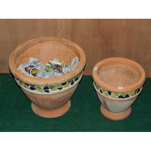 296 - 2 matching decorated flower pots [W: 36 and W:25]cm...