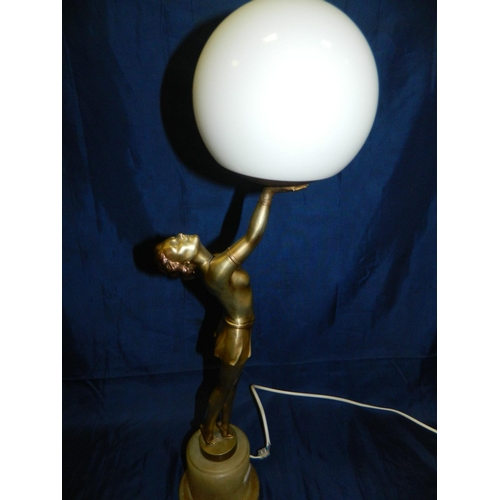 3 - Alabaster and spelter Art Deco style kneeling figurine lamp base with shade...