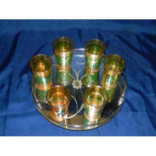 304 - French 6 Ornate glasses on mirrored tray...