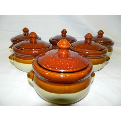 309 - 6 lidded stoneware soup bowls diameter...