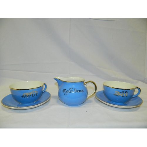 314 - French 'Moi & Toi' tea set with 2 cups and milk jug...