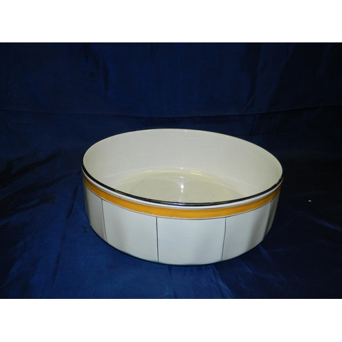319 - Large white bowl with yellow border...