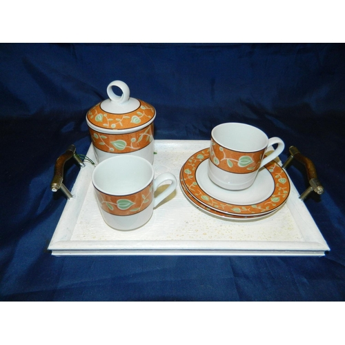 323 - 2 expresso cups with tray and sugar bowl...