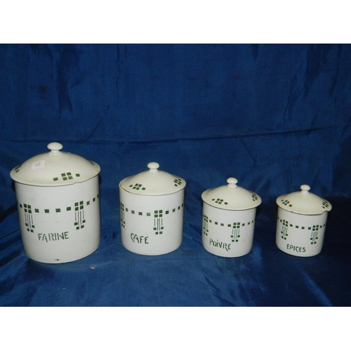 325 - 4 kitchen jars with Art deco design in French...