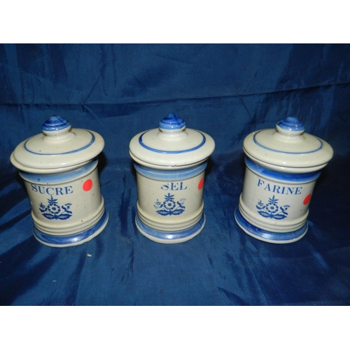 326 - Set of 3 French blue and white containers for Sugar, Flour and Salt...