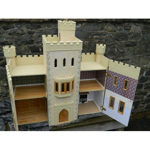 33 - Scottish baronial style dolls house complete with William Morris wallpaper...