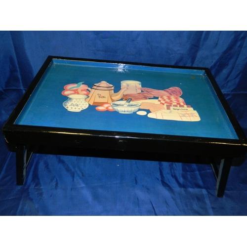 335 - Folding breakfast tray with blue based French breakfast scene...