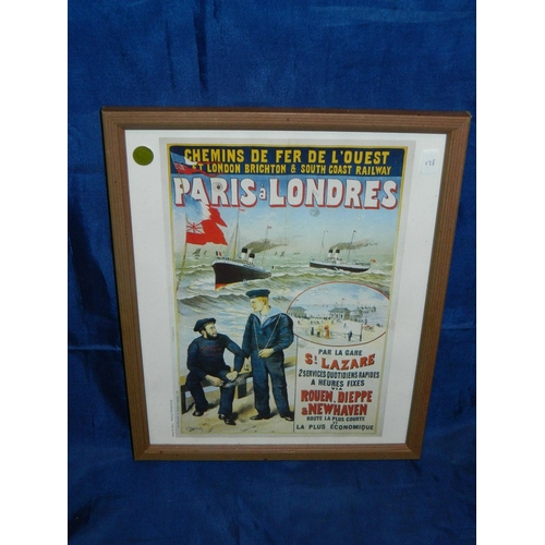 336 - French advertising poster of the boat train journey from Paris to London...