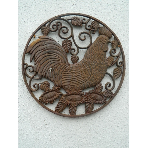 337 - Pair of wrought iron hen wall plaques...