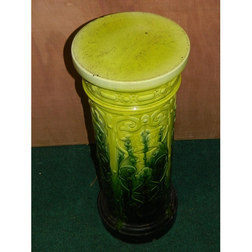 35 - Decorative glazed ceramic plant stand coloured forest green and lime green...