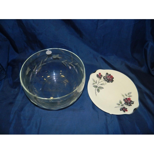360 - Royal Albert plate and large crystal bowl with thistle design...