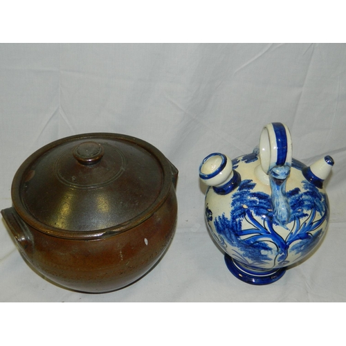 379 - Stone casserole and ceramic Spanish wine vessel...
