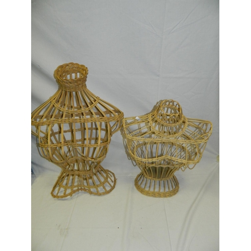 386 - 2 French wicker display busts...