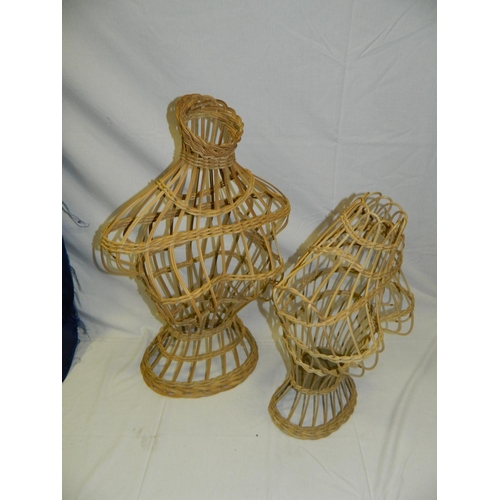 387 - 2 French wicker display busts...