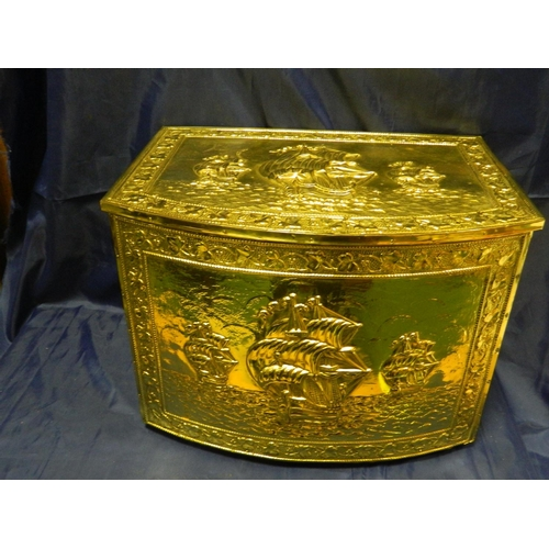 389 - Brass log box...