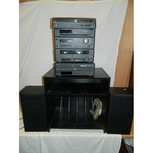 391 - Sony music centre with 5 CD player, record player, 2 speakers black cabinet with record holder and c...