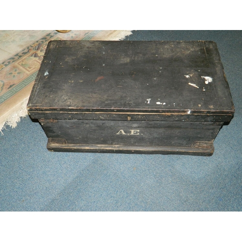 397 - Painted black pine tool chest with contents...