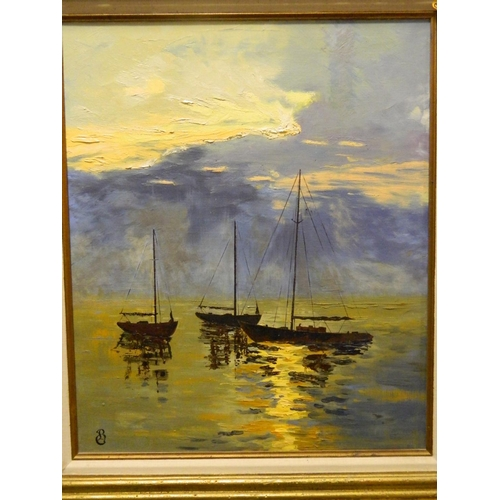 40 - Bryce Gillispie oil on canvas of boats in harbour in carved gilt frame [72x82]cm with frame width of...