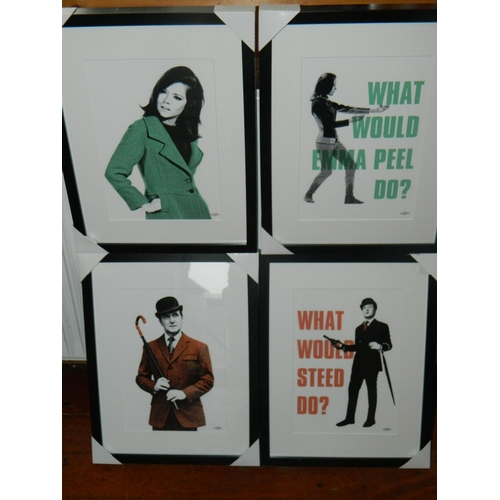 41 - 4 framed Avengers Tv show posters featuring Steed and Emma Peel...