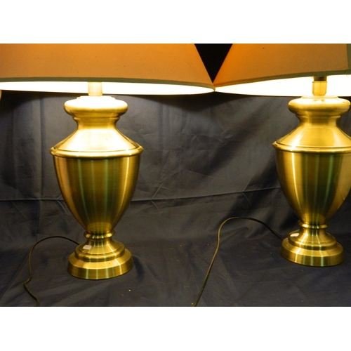 42 - 2 designer brushed chrome 'urn' shaped lamps with shades...