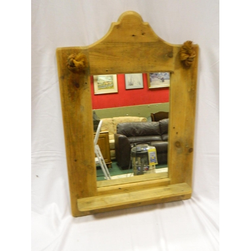 421 - Pine framed wall mirror...
