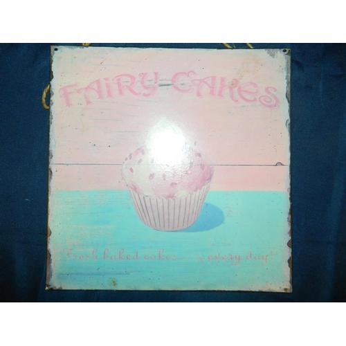 430 - 'Fairy cake' tin wall hanging sign [25x25]cm...
