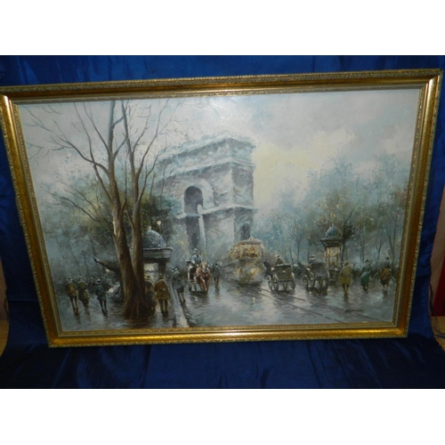 434 - J.Gaston framed oil on canvas of Paris scene [98x96]cm...