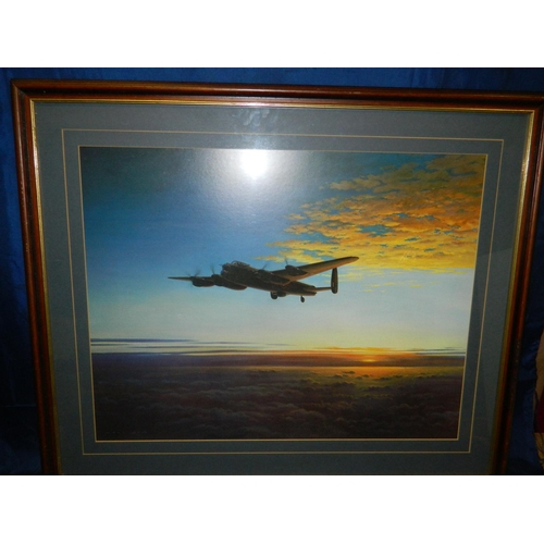 438 - Framed print of Lancaster Bomber at sunset [87x73]cm...