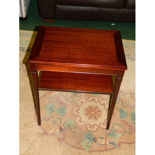 446 - Mahogany effect side table with shelf...
