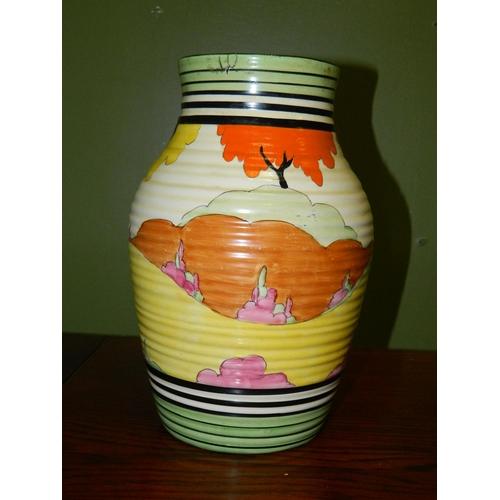 45 - Clarice Cliff hand painted jug (repaired intact minute chip) H:30cm...