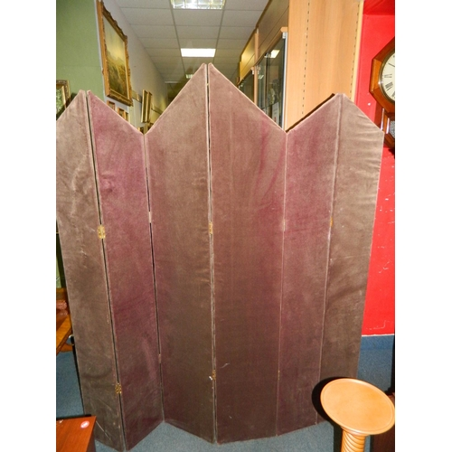 453 - Vintage Brown fabric covered room divider...