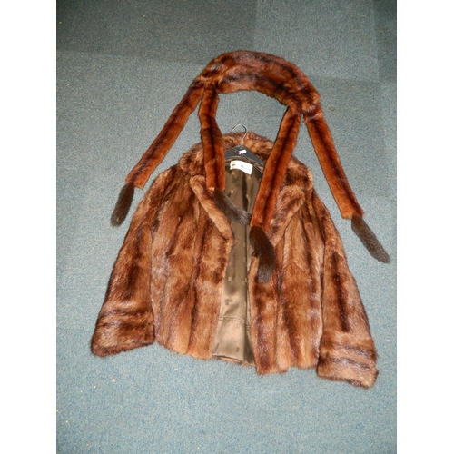 457 - 'Henri Bordland' Fur jacket with fur wrap...