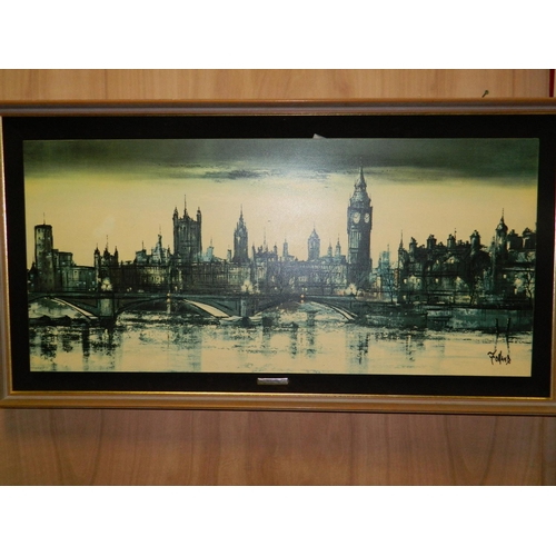 463 - Folland framed print on board 'City River Scene'...