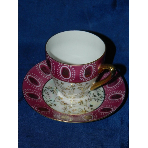 466 - Single 'Roxy' china pink patterened teacup and saucer...