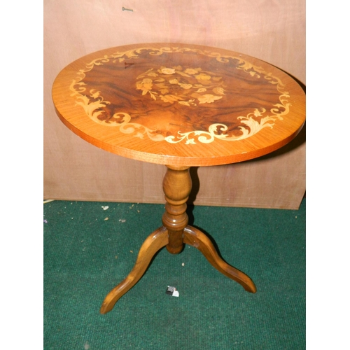 471 - Circular inlaid satinwood wine table and sidetable music box...