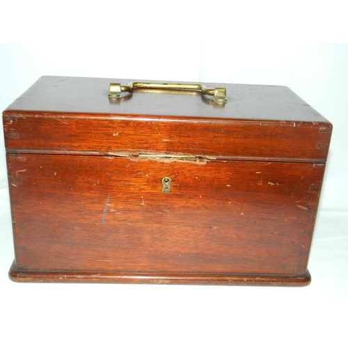 485 - Victorian mahogony box with brass fittings...