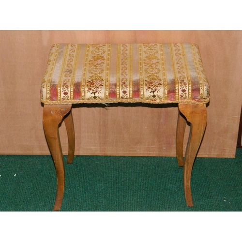 494 - Dressing table stool with cabriole legs...