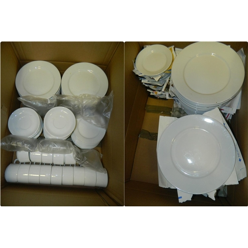 506 - 121 Items of quality white crockery [plates, cups,saucers etc]...