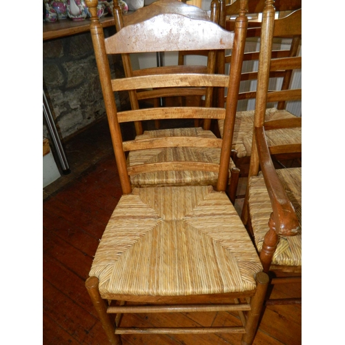 51 - Bespoke handmade 4 Farmhouse chairs and 2 carvers (match lot 50)...
