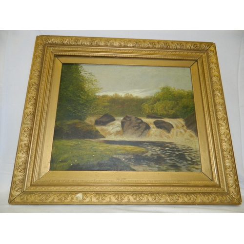 529 - Unsigned circa 19th Century oil of waterfall...