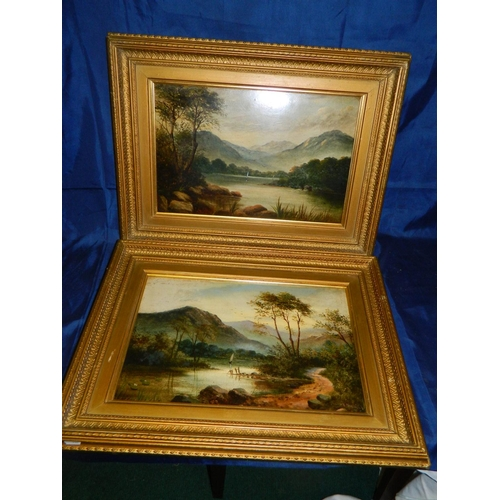 532 - G Martin framed print of woodland scene and unsigned print of loch both in gilt frames...