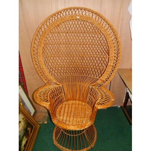 538 - Peacock wicker chair...