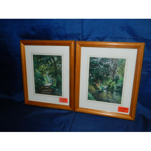 543 - Moira E. Weir 2 framed paintings 'Craiglochart Dell' and 'Through Braid Park'...