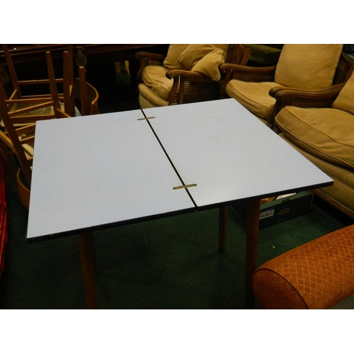 547 - Retro c1950's folding blue formica table...